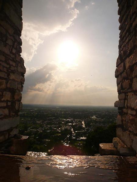 The sun breaks through the stormy weather in Chittaugaur, Rajastan India.