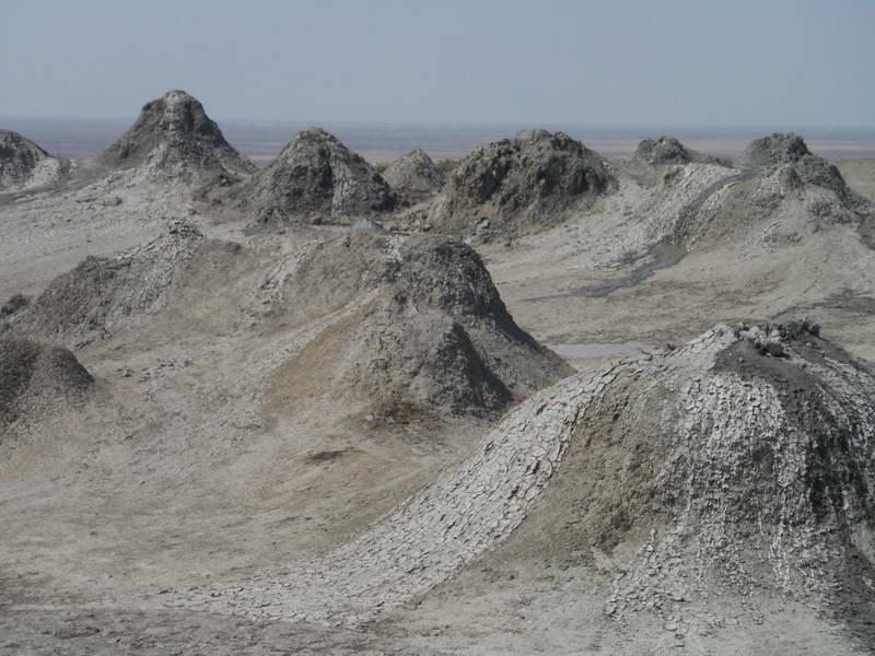 Mud volcanoes (natural gas vents) in Gobustan, south of Baku