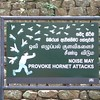 Friendly warning when visiting temple sites in Sri Lanka.