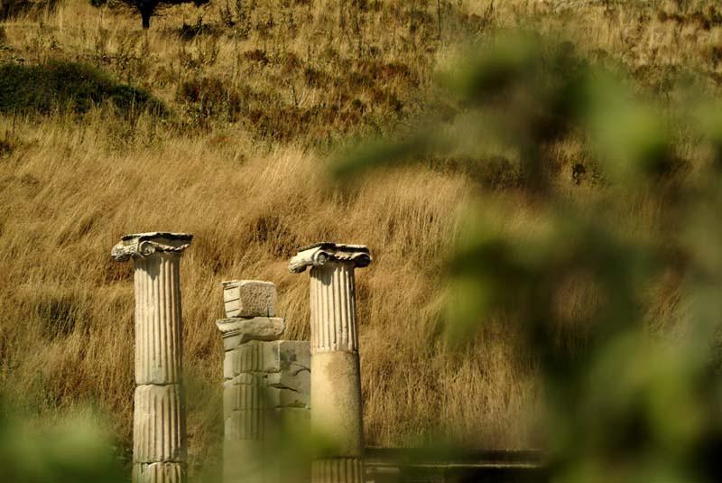 Detail of distant ruins in Ephesus, Turkey.
