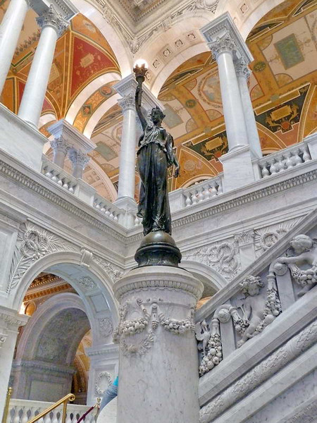 The shining light of truth & knowledge held high in the Library of Congress, Washington DC