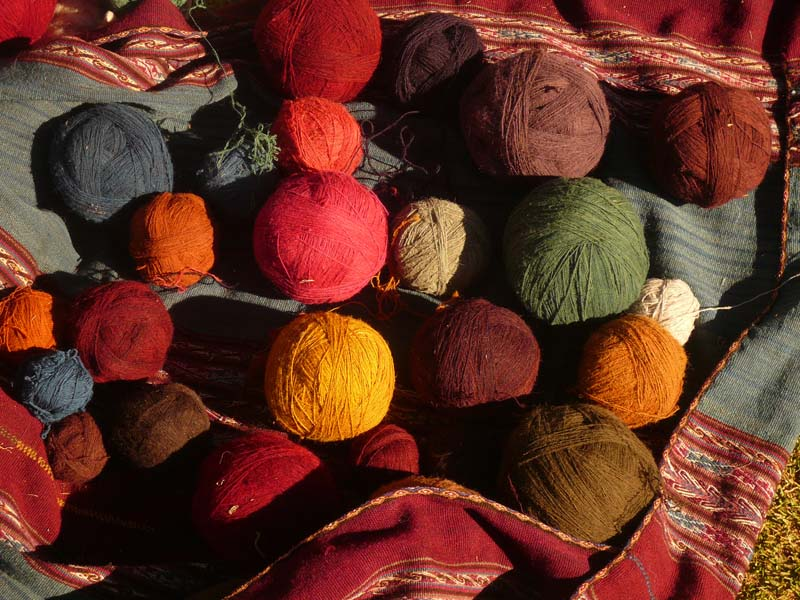 Colourful balls of wool at the cooperative in the Urubamba valley, near Cuzco Peru.