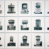 Detail of illustrative study of water towers from the Museum of Modern Art in New York City.