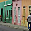 Colourful building facades in Praia, Santiago Island Cabo Verde.