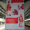 Train platform instructions in Bharatpur, Rajastan India.