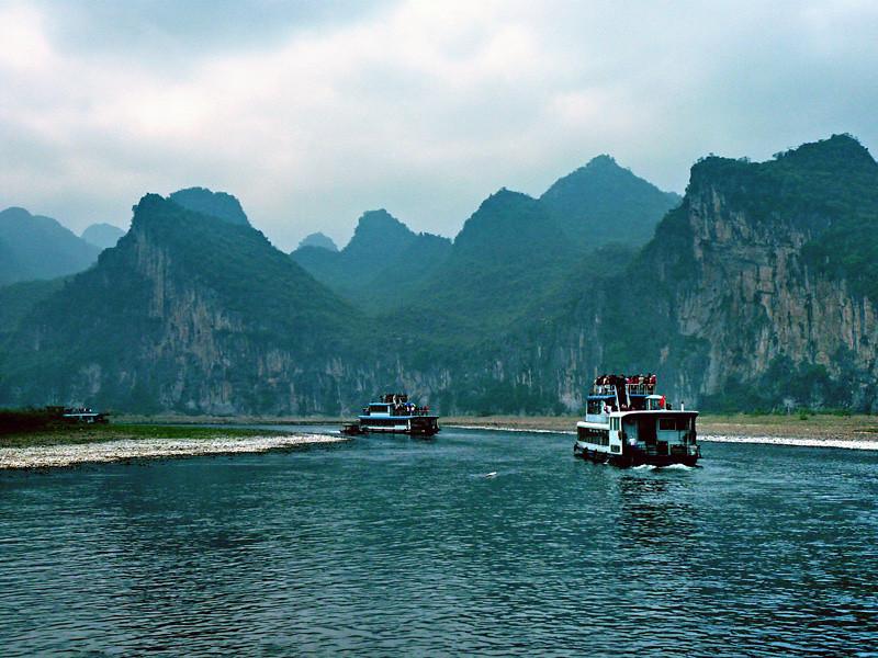On the Li river near Guilin, China