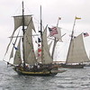 Tall Ships parade in lake Michigan, Chicago Illinois, USA.