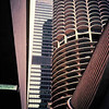 Iconic Chicago architecture - Bertram Goldberg's Marina City towers in Chicago Illinois, USA.