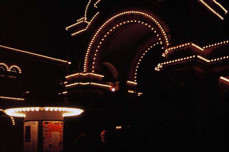 The entrance to Tivoli gardens at night in Coepnhagen Denmark.