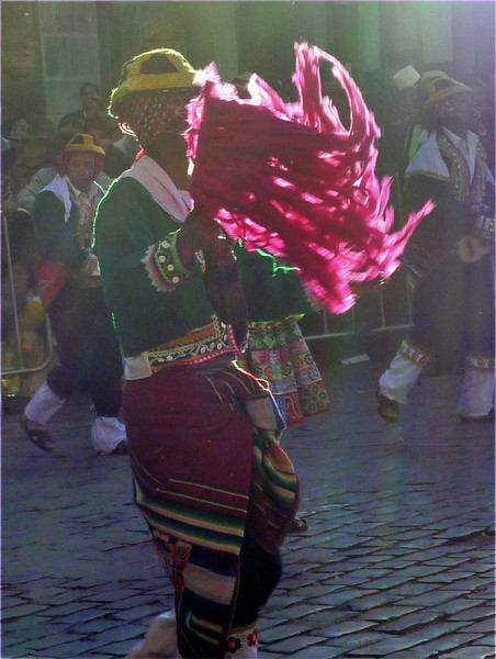 Street reveler during Inti Raymi in Cuzco, Peru.