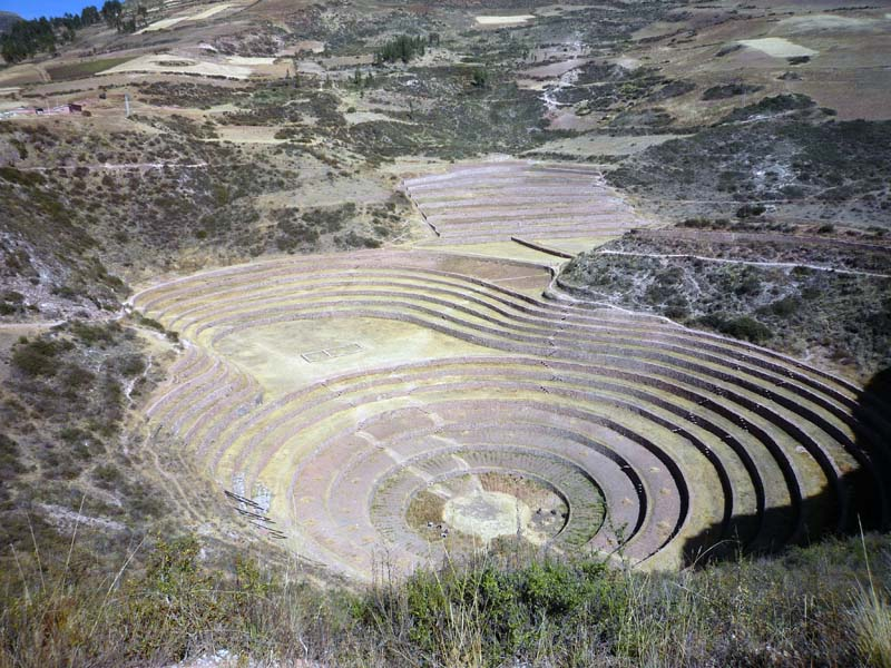 View from the top, overlooking the terraced micro-climate crop circles of Moray, Peru.