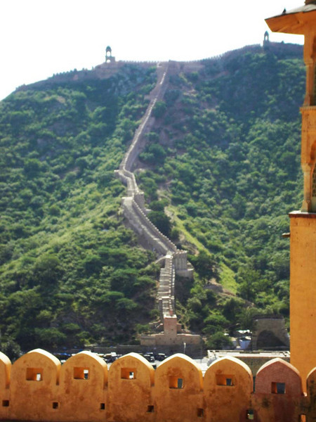 A great wall look-alike at the fort in Jaipur, Rajastan India.