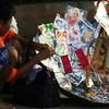 Curious umbrellaic ticket display in Bharatpur, Rajastan India.
