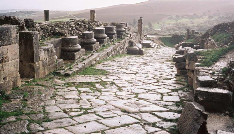 Boulevard of broken dreams remains of Roman street in Bulla Regia, Tunisia