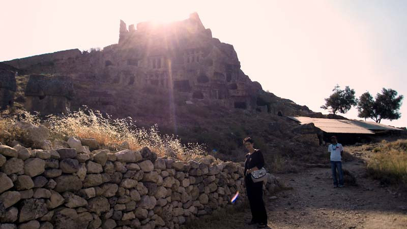 Setting sun atop the fort in Tlos, along the Lycian Way, Turkey