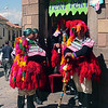 Parade guys take a break from Inti Raymi at the mini mart in Cuzco Peru.