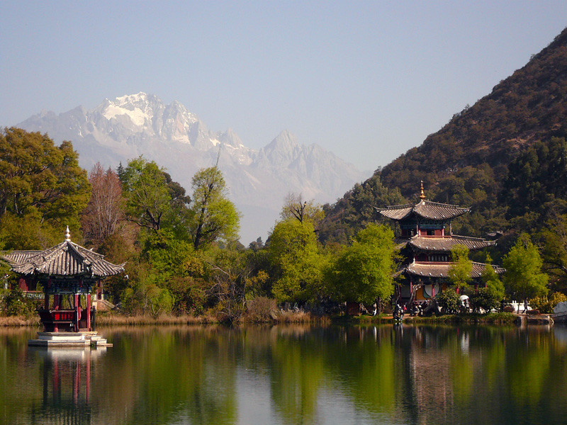 Distant mountains from the park near Lijiang, China
