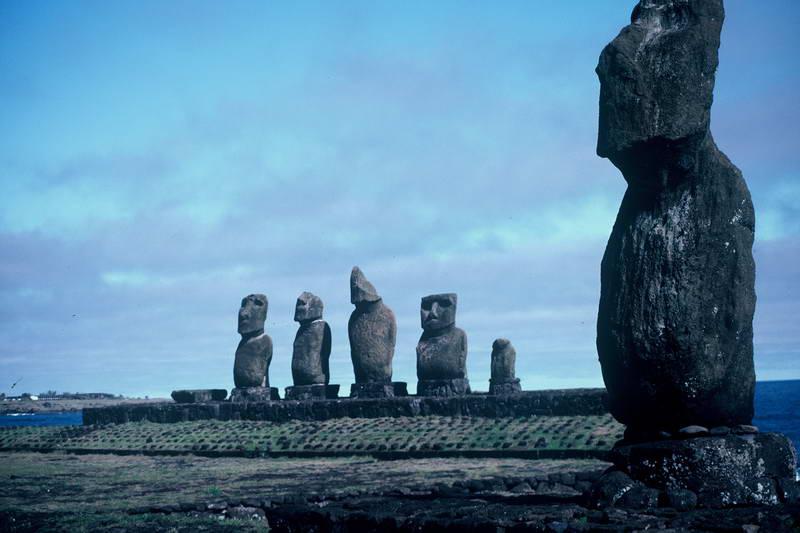 Standing Moai near Orongo, Easter Island, Chile.