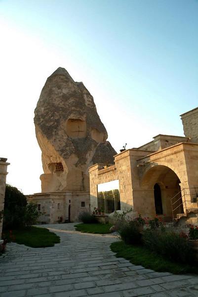 Stone houses and Cave hotel in Goreme, Kapydokia Turkey.