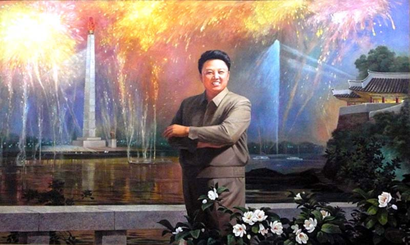 Dear leader stands proud for the commuters at a Pyongyang subway station in North Korea