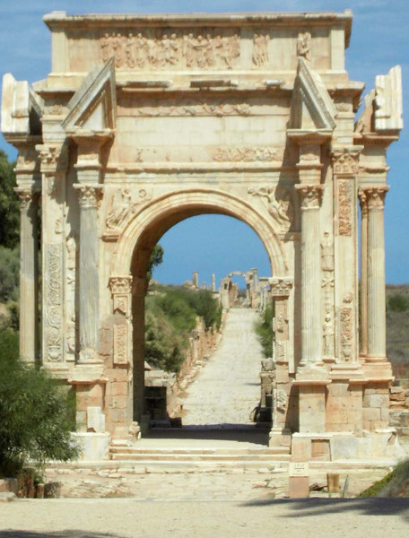 Crossroads gate at ancient Roman Leptis Magna, Libya