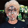 Joan gets a makeover along the upper Sepik to match her mask in Papua New Guinea