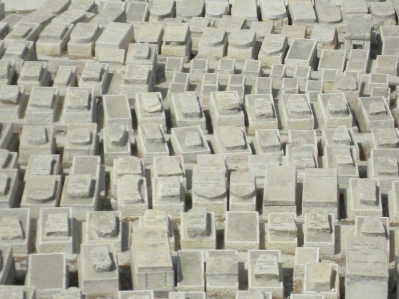 Tombstones line the hillsides outside of Jerusalem, Israel.