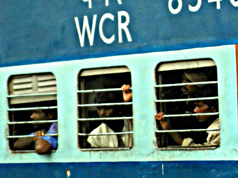 Locals packed into the train at Ranthambhor, Rajastan India.