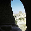 View from inside the cave dwelling in the Goreme open air museum in Kapyodkia Turkey.