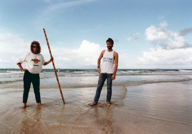 """Bob & Jane impersonate hedonistic beach creatures at Air Papan; (""""Been There, Done That""""), Malaysia."""