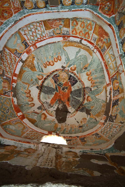 Fresco ceiling detail in one of the rock cut churches along the hike through Ilhara canyon in Kapydokia, Turkey.