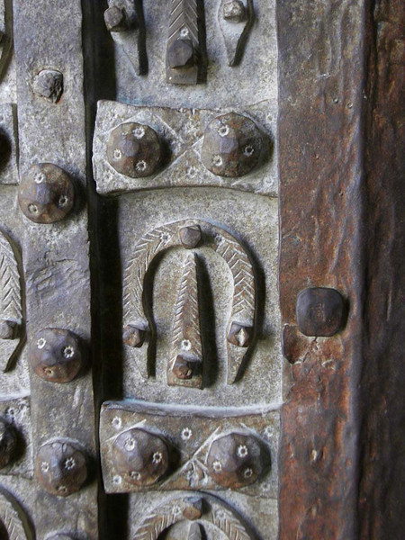 Detail of iron wrought door latch in Damascus Syria.