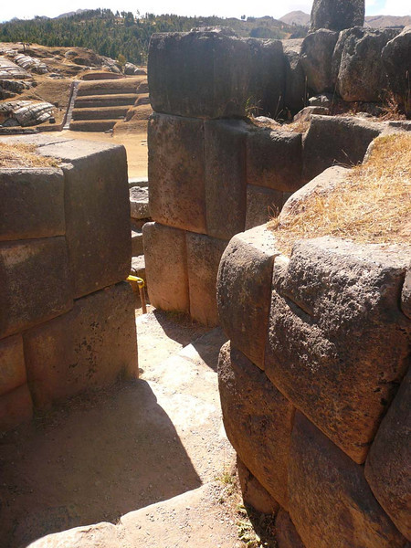 Exploring the ruins of Sacsayhuanman, prior to Inti Raymi day, near Cuzco Peru.