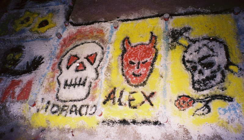 Sand paintings in the plaza on Dia Del Muertos, Oaxaca Mexico.