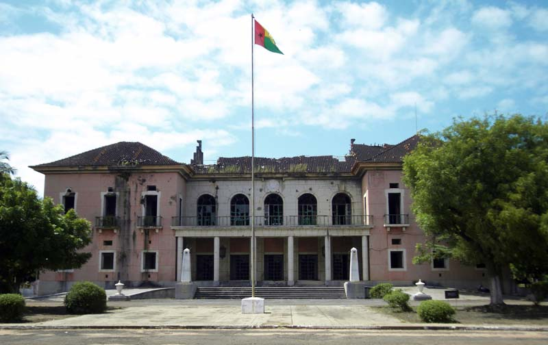 The bombed out presidential palace in downtown Bissau, Guinea Bissau.