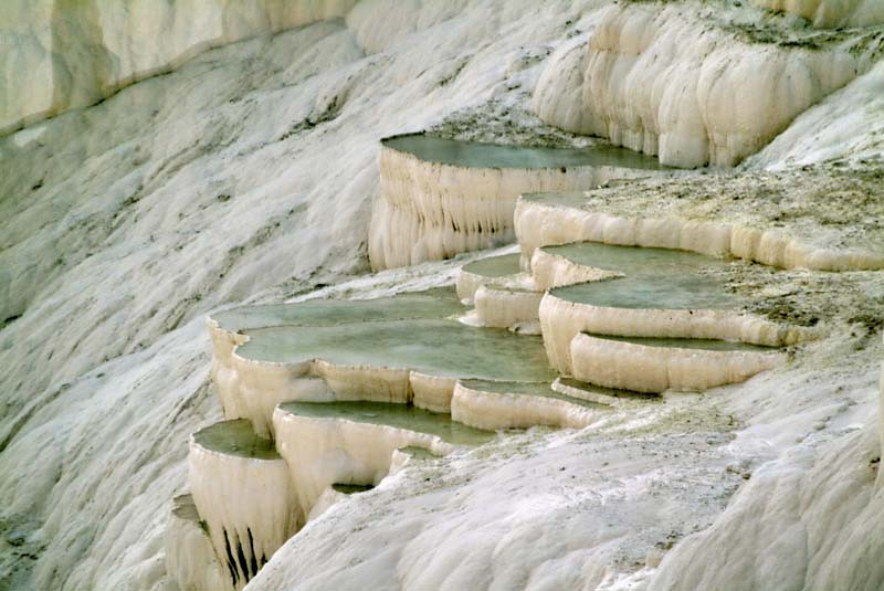 Detail view of the calcium terraced pools at Paumukkale in central Turkey.