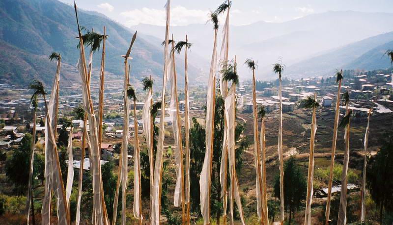 Prayer flags on the hillside outside Thimphu, Bhutan.