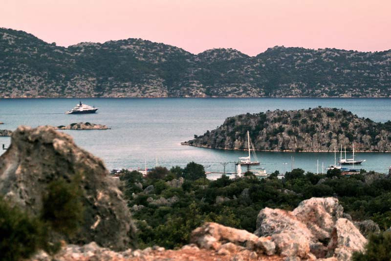 Scenic view of the harbour in Kekova, along the Lycian Way, Turkey