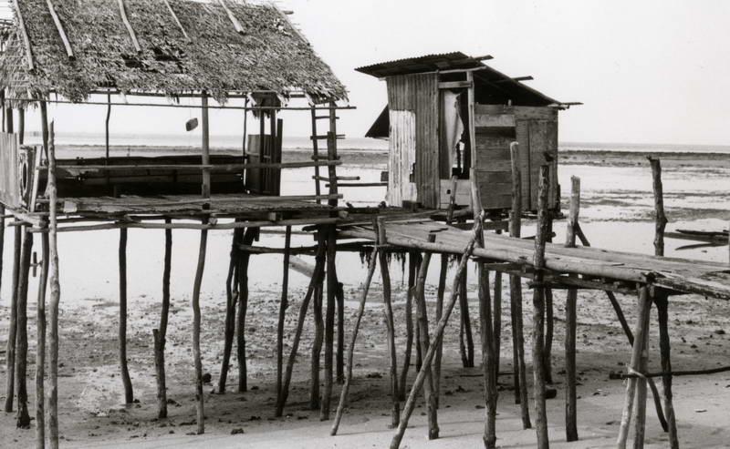 Abandoned water village at low tide in Nagoya, Batam, Indonesia.