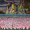 Manually coordinated stadium propaganda in Pyongyang, North Korea