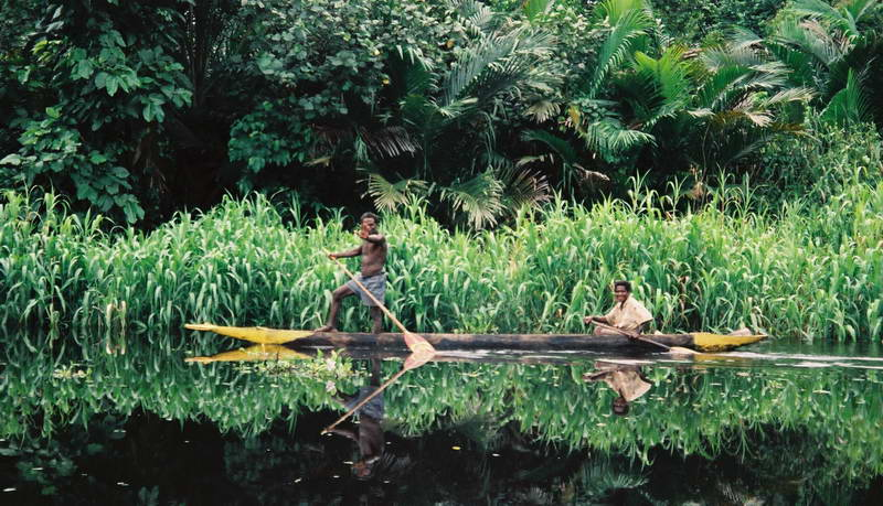 Perfect balance on a tributary of the upper Sepik river, Papua New Guinea.
