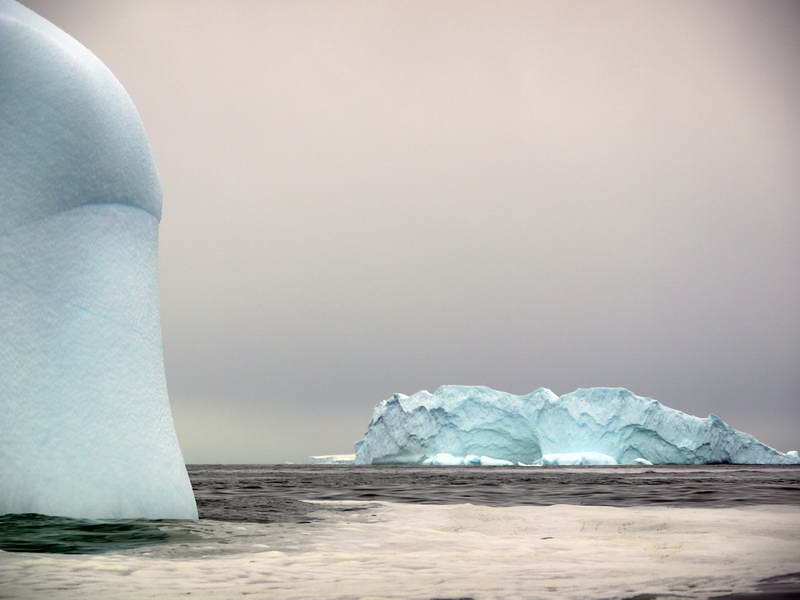 Massive icebergs in the bay at Detaille Island, Antarctic peninsula