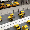 Public facilities coordinated with streetside taxis below the High Line park, New York City