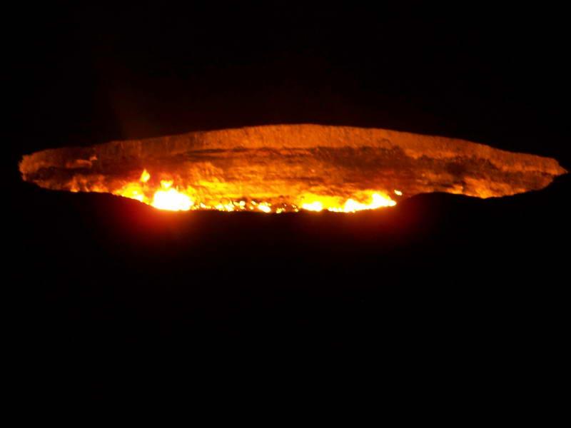 Night view of the 60 meter diameter Flaming Crater