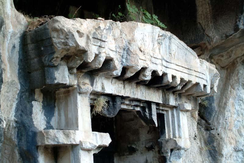 Detail of cliffside rock cut tomb in Pinara, along the Lycian Way, Turkey