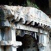 Detail of cliffside rock cut tomb in Pinara, along the Lycian Way, Turkey