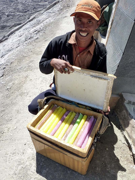 The popsicle guy does a brisk business on top of the crater rim.