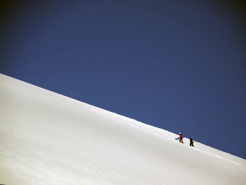 Snowboarding from the top of Cuverville Island, mainland Antarctic peninsula