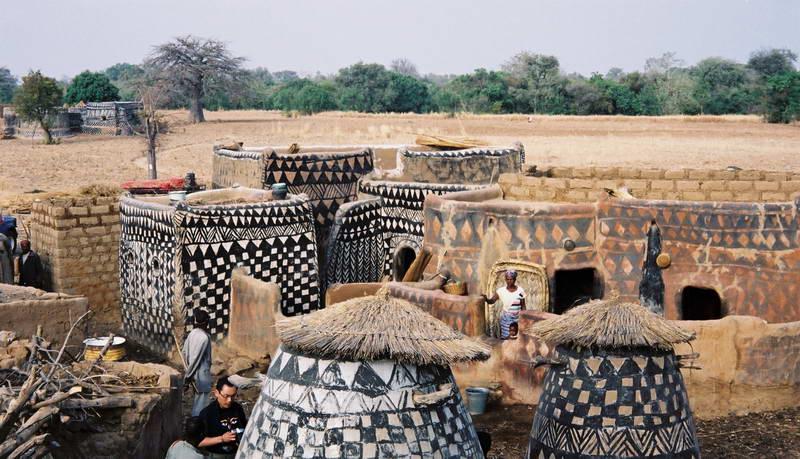 Exploring the Gurunsi painted village, rural Burkina Faso.