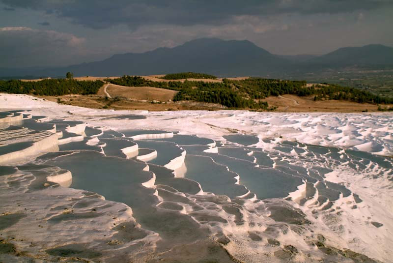 Calcium terraced pools at sunset in Paumukkale in central Turkey.
